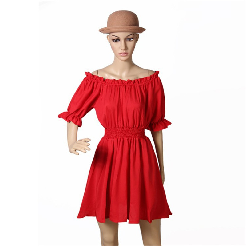2015 Sexy Red Sweet Slash Neck Lantern Short Sleeves Tube Top Pleated Dress Women Slim Waist Red One-piece Celebrity Dresses