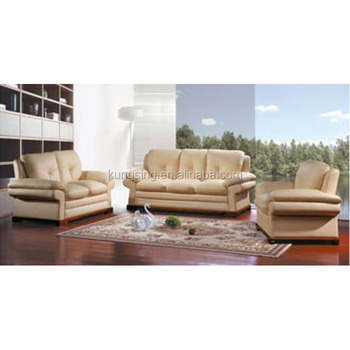 Italian Cream Color Leather Sofa Set