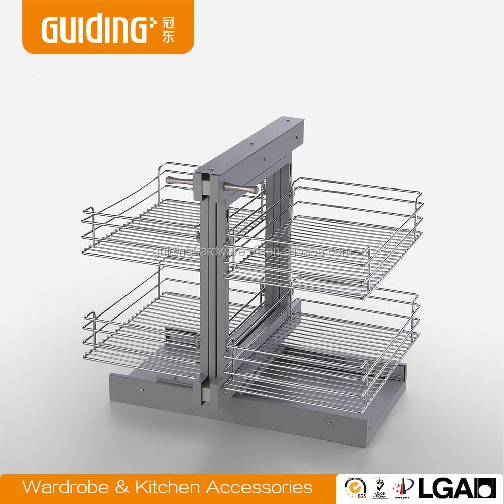 Kitchen magic corner storage basket with soft closing