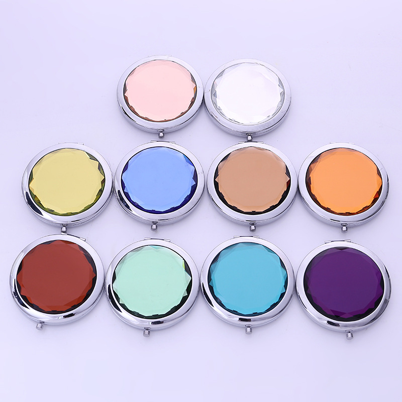 DILU Free Sample wholesale Custom Logo Fashion Gold Double-Sided Round Crystal Compact MakeUp Pocket Mirror With Gift Box