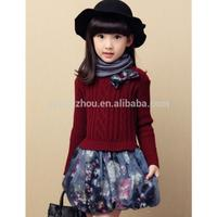 2019 High Quality Girls Dress Long Sleeve Bow Flower Print Patchwork Girls Clothes