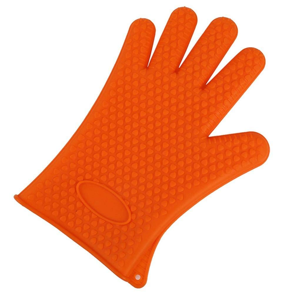 Leegoal BBQ Grilling Gloves, Non-Slip Silicone Oven Mitts Gloves - Non Stick Heat Resistant Potholders Hand Protection for Kitchen Cooking Baking Barbecue Outdoor and Indoor Use