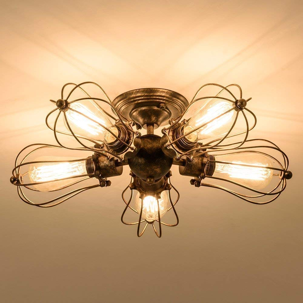 CGJDZMD Vintage Ceiling Lights Adjustable Socket Industrial Five Heads Chandeliers Metal Wire Cage Lamp Semi-Flush Mount Rustic Ceiling Light Indoor Home Retro Lighting