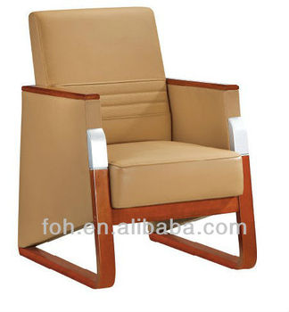 Beige Mid Back Box Arm Leather Guest Comfortable Reception Chair Office Furniture Waiting Room Chairs