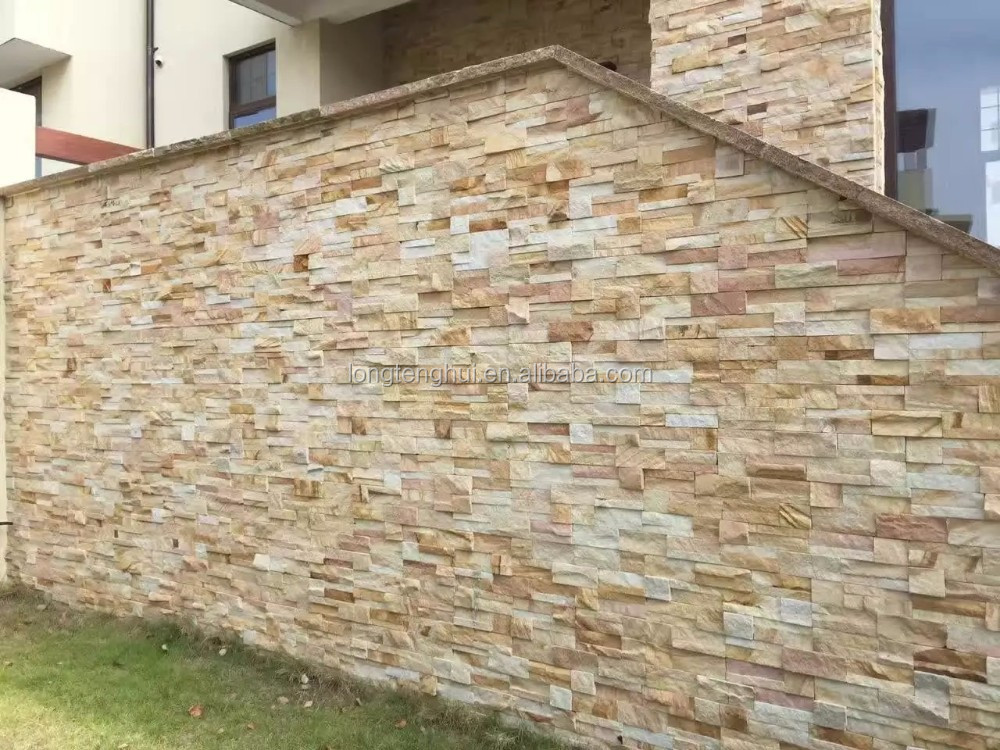 Yellow Schist slate ledge stone wall cladding culture stone