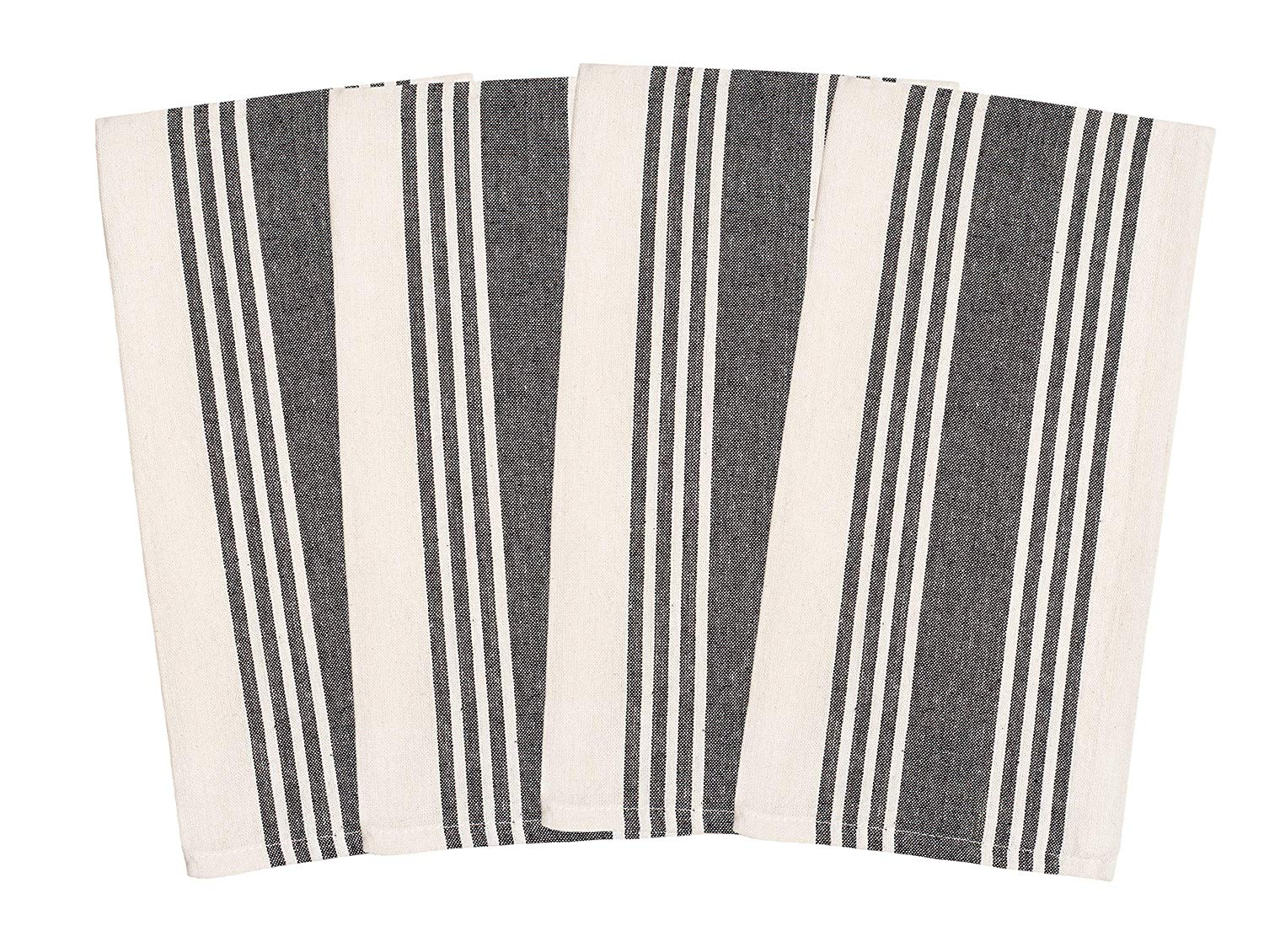 Overzised Kitchen Towels - Dish Cloth - (4 Pack) Machine Washable 100% Cotton Kitchen Dishcloths, Dish Towel & Tea Towels, Stripe, 20x27 Inch - Superior Professional Grade, Multi Purpose - Gray