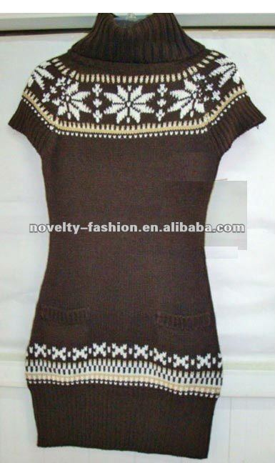 Ladies jacquard knitted short sleeve turtleneck pullover