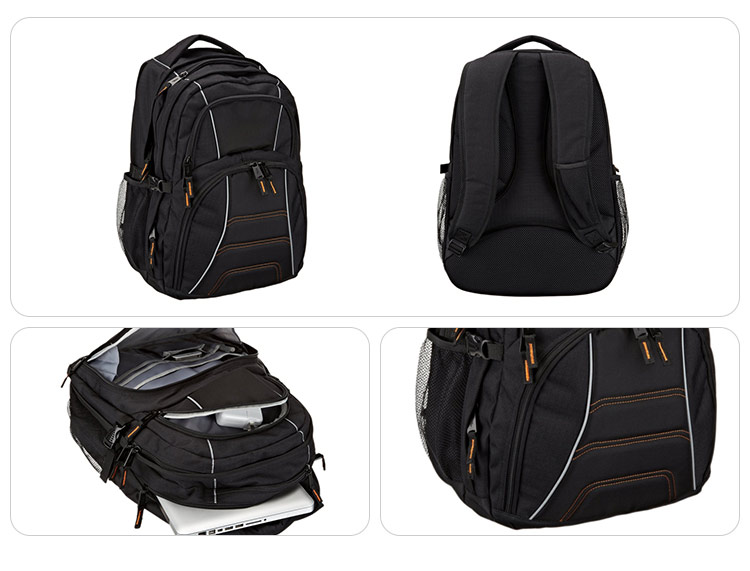 New fashionable durable ventilation reticular polyester black rucksack