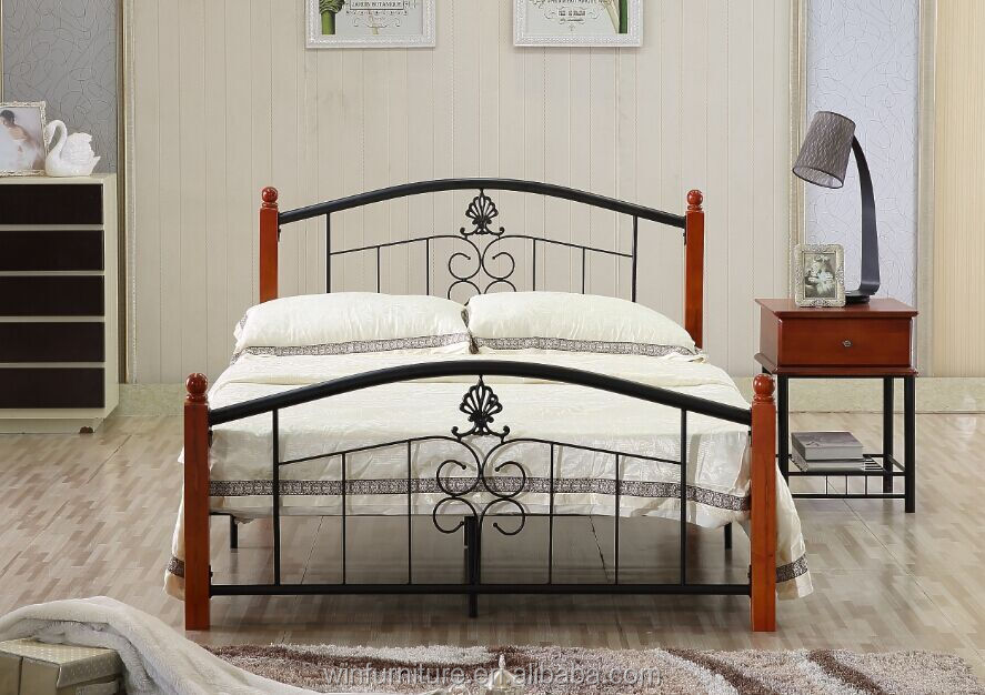 latest metal bed designs with rubber wood post. latest metal bed designs with rubber wood post  View latest metal