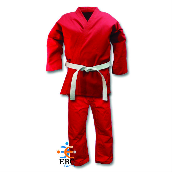 Good Quality 100% Cotton Scarlet Red Karate Uniform with white belt