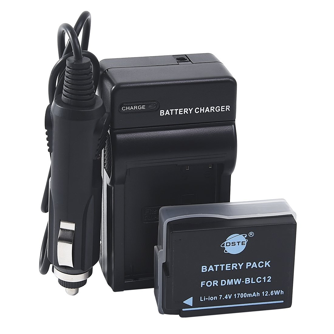 DSTE DMW-BLC12 Battery + DC114 Travel and Car Charger Adapter for Panasonic Lumix DMC-G5 G6 G7 GH2 GX8 FZ200 DMC-FZ2500 DMC-FZ2000 Leica Q Camera as DMW-BLC12E BP-DC12E