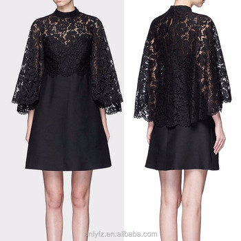 Anly Winter Long Trumpet Sleeve Formal Black Stitching Lace