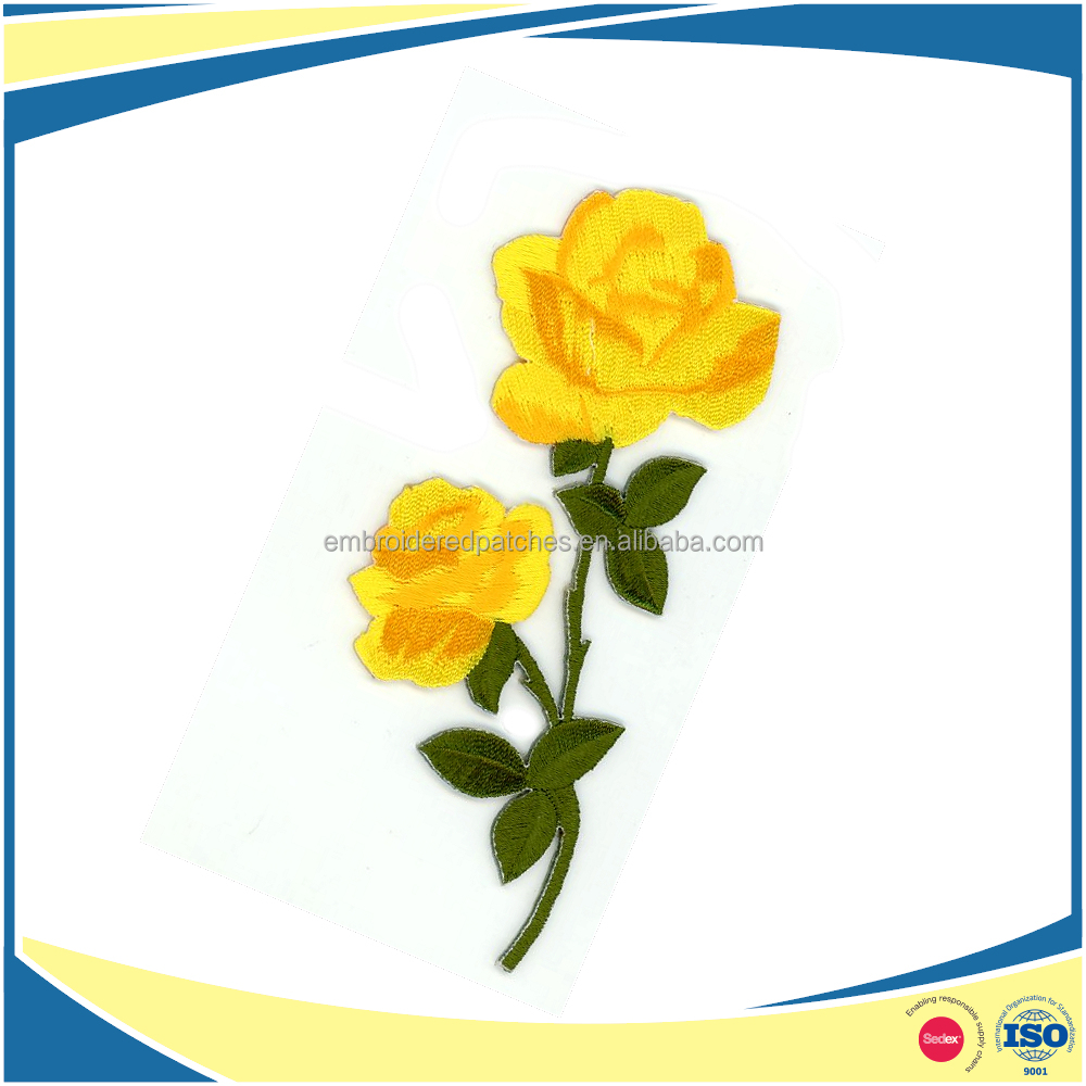 Fashion Iron On Embroidery Rose Patches Yellow Rose Flowered Appliques for Jeans