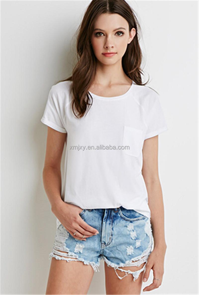 2017 fashion women pocket t shirt cotton plain dyed bulk for Plain t shirt model