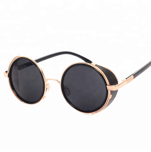 2018 popular classic vintage round steampunk rock style old school sunglasses