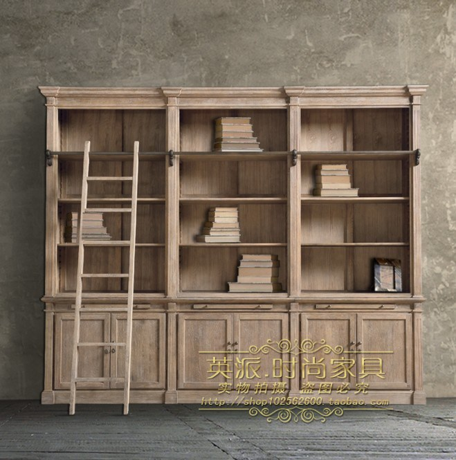 meubles de style am ricain et europ en rustique vintage ch ne massif bois biblioth que. Black Bedroom Furniture Sets. Home Design Ideas