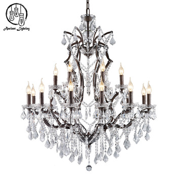 E14 E12 2 Tier Antique Rust Iron Light Fixture K9 Crystal Candle Chandelier