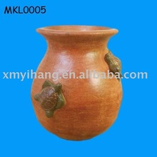 crawling turtle terracotta round pot