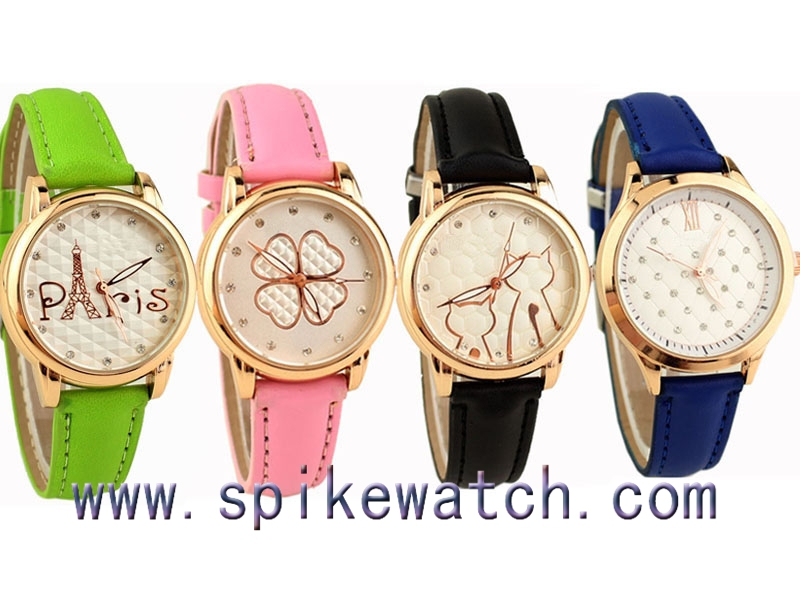 black color custom leather watch cute personalised watches - Color Watches