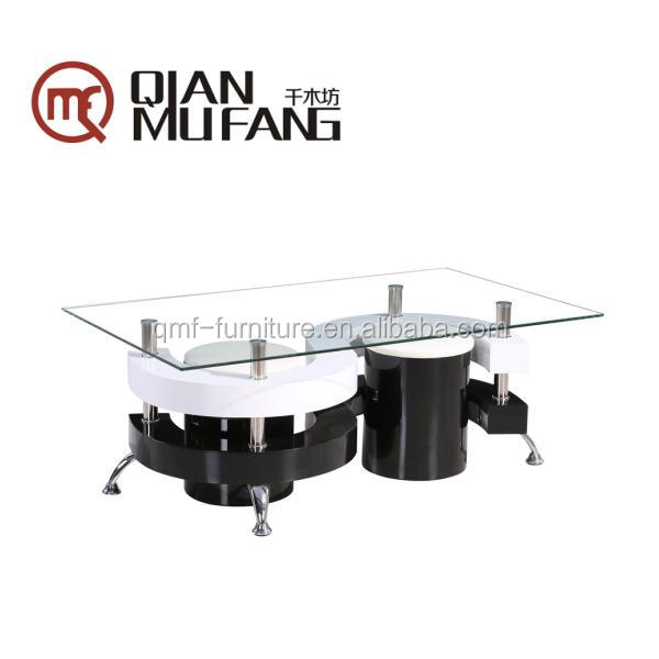 2016 popular design cheap glass glossy coffee table with stool puffs