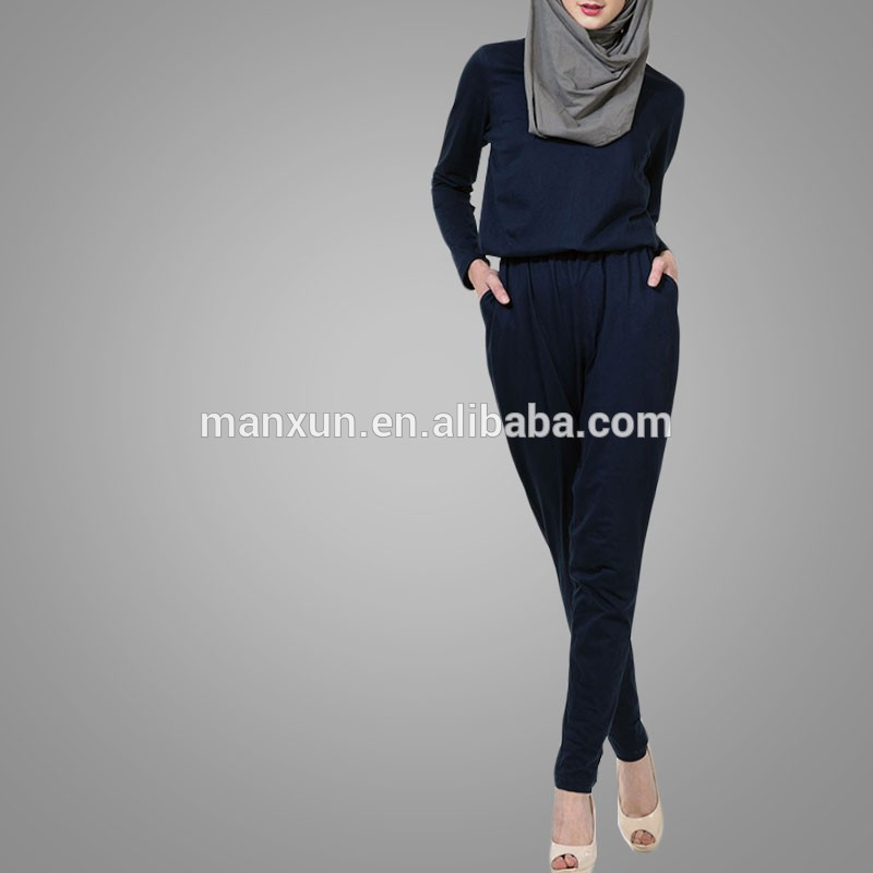 62bca6403f9f Modest Ladies Office Wear Jumpsuits Muslim Women Model Kebaya Modern Cotton   Cotton Jersey Islamic Jumpsuits