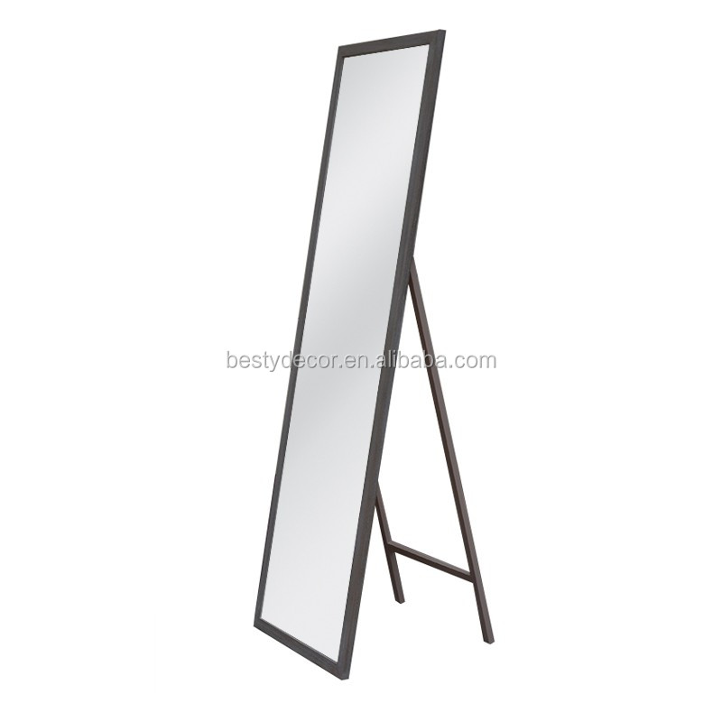Rectangle dressing solid wood frame free standing floor for Standing mirror frame