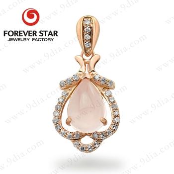 China Supplier Gold Jewelry Design Patterns Natural Rose Quartz Pear