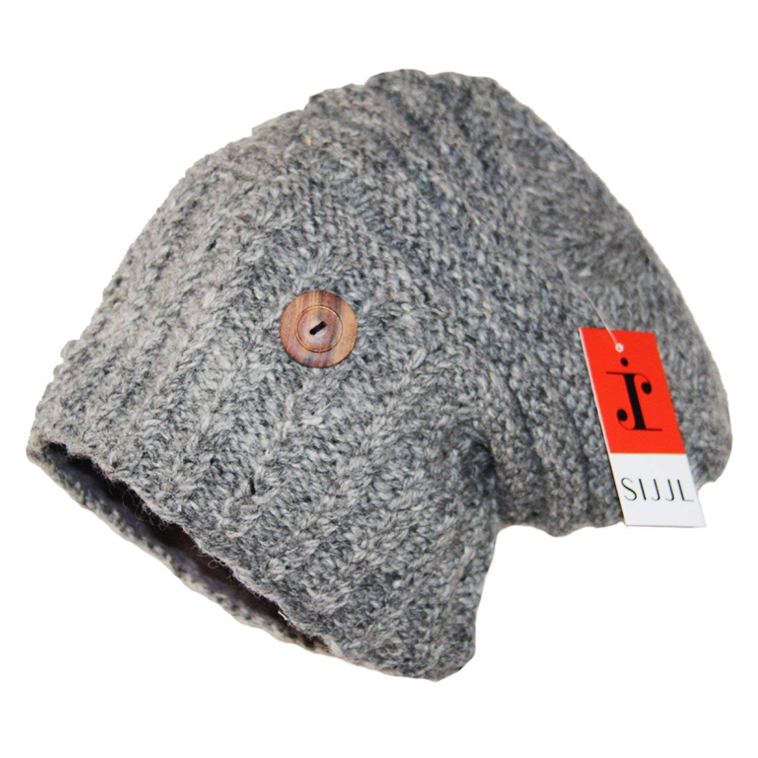 91889bdb02ae5 Get Quotations · SIJJL Grey Side-Button H-Tube Slouchy Beanie