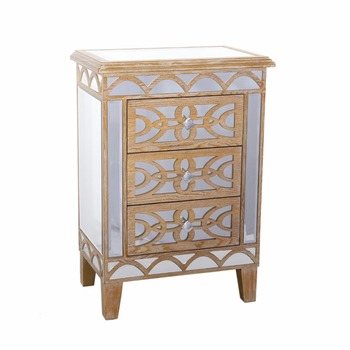 Scandinavian Furniture Whole Mirror Cabinet Wooden Bedside Table Small 3 Drawer Gl