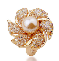 Luxury Rose Gold Filled Clear Crystal CZ big Flower Imitation Pearl Ring For Party