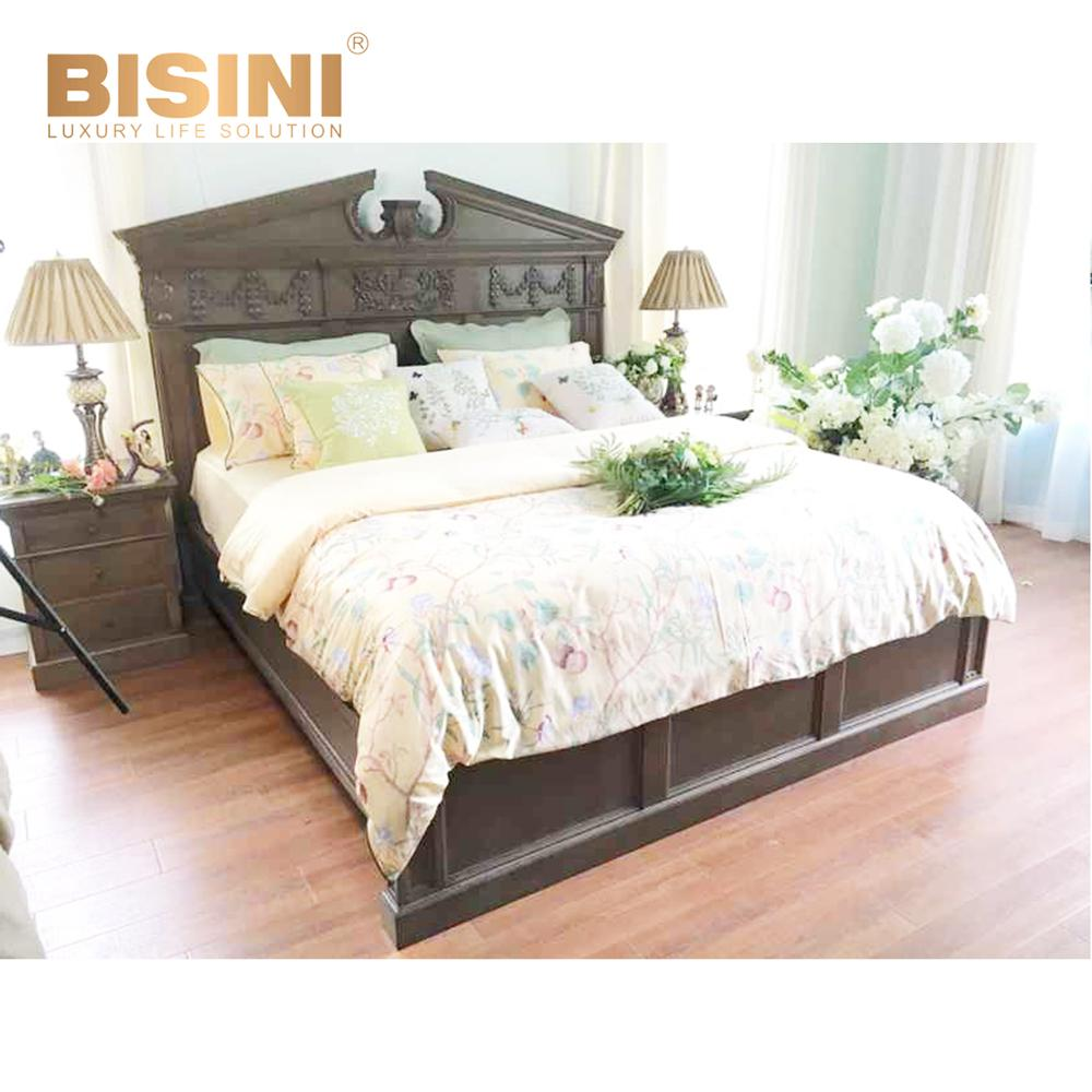 American Brown Solid Wood King Size Bed Vintage Bedroom Set Furniture  Amazing Carving Wedding Bed, View Wood Beds, BISINI Product Details from ...