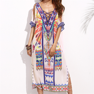Anti-Static bohemian style short-sleeve girls long max dress
