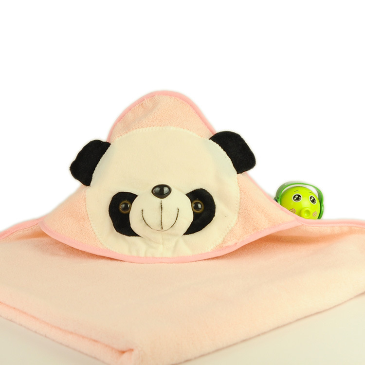 2016 new design hot sale 100 cotton panda head hooded baby towel