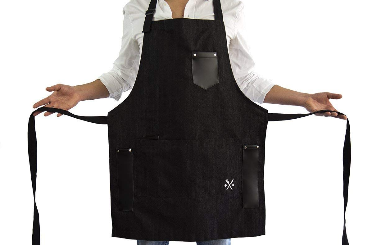 APRON for men chef, useful multifunctional pockets, ideal for bbq, grill, kitchen or restaurants, the coolest inexpensive gift for grilling dads, BLACK DENIM