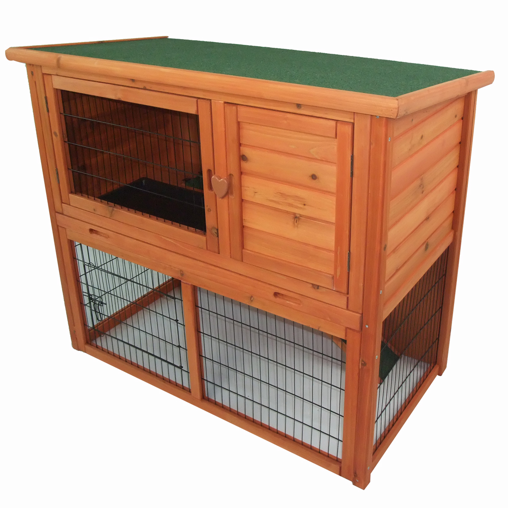 "50"" Wooden Rabbit Hutch Chicken Coop Hen House Pen Cage"