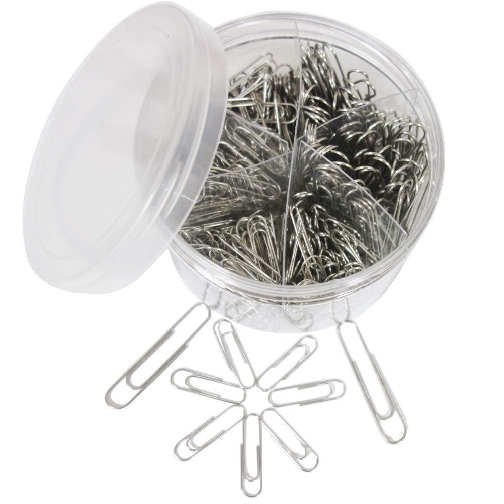 500Pcs Paper Clips,Medium and Jumbo Size Silver Paperclips (28mm/400pcs,50mm/100pcs)