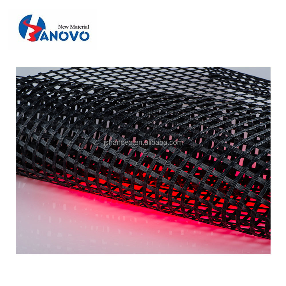 High tensile strength underlying asphalt layers self-adhesive glassfiber geogrid