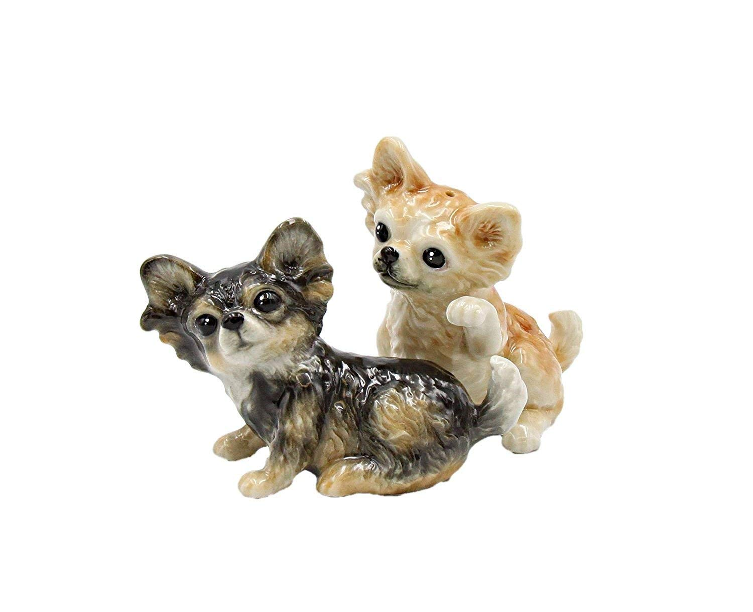 """Cosmos Gifts 20774 Fine Porcelain Chihuahua Dog Salt and Pepper Shakers Set, 3-1/2"""" L"""