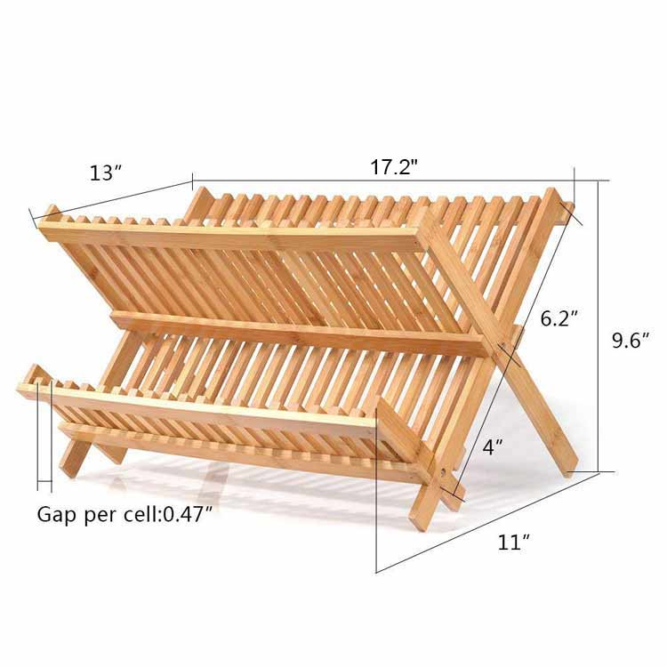 Kitchen Bamboo X Shaped Folding Dish Rack With Utensil Holder