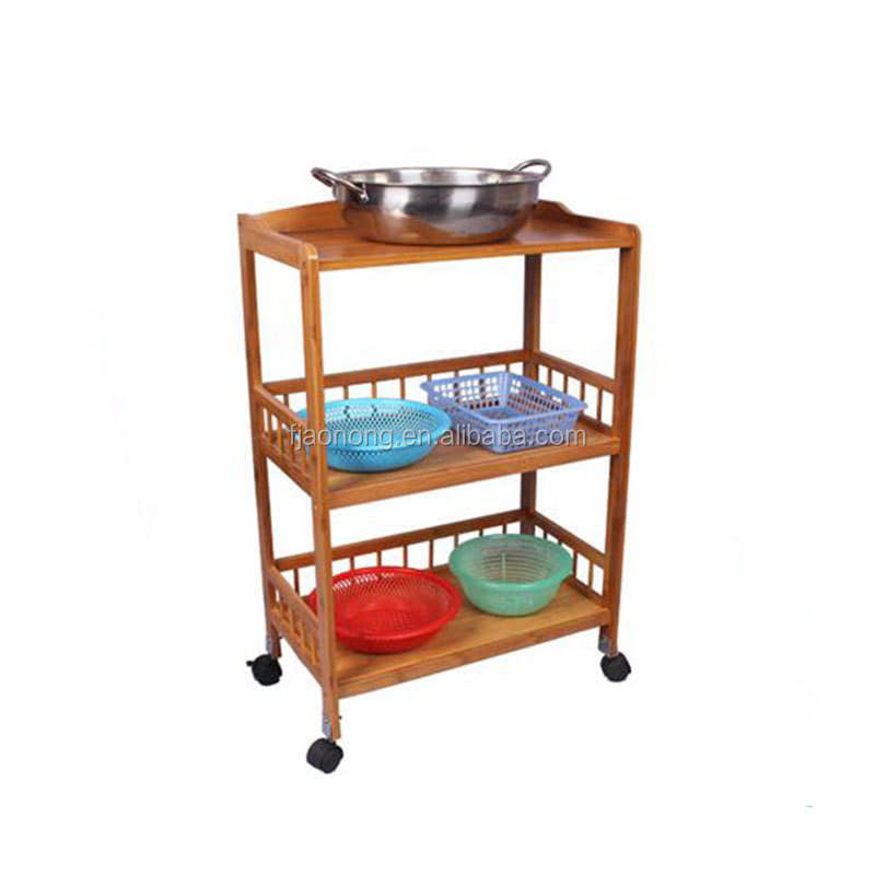 Wholesale Bamboo Kitchen Cart With Baskets, Shelves And 8 Slot Wine Bottle  Holder