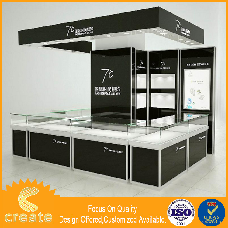 Super quality jewelry cabinet mirror glass showcases