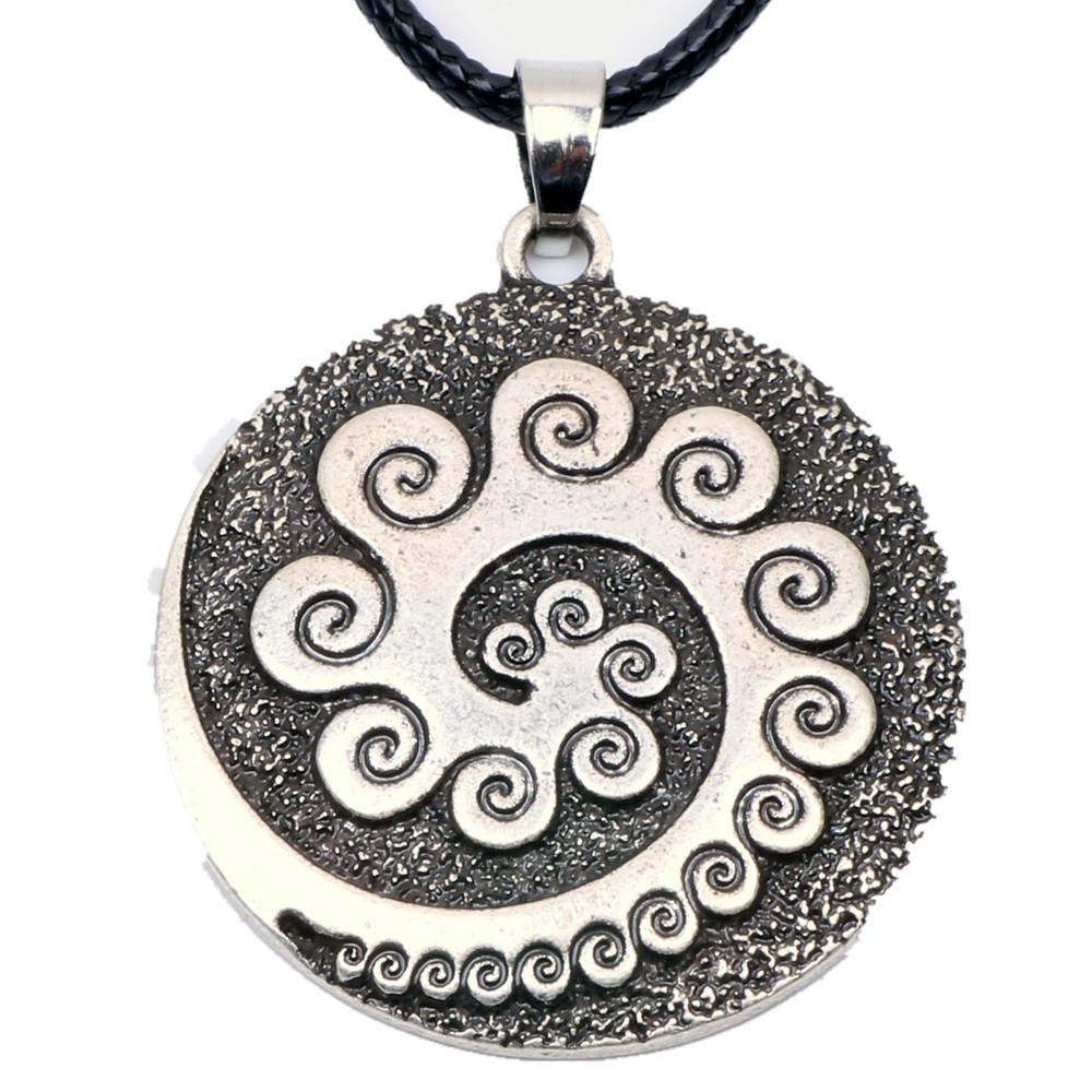 4105 Aboriginal Koru Necklace Pendant Maori Twist Symbol Mask Manaia Tribal