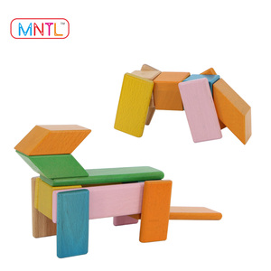 Amazon Sell Hot Toy DIY Magnetic Wooden Block Set Building Kits For Kids Factory Supplier