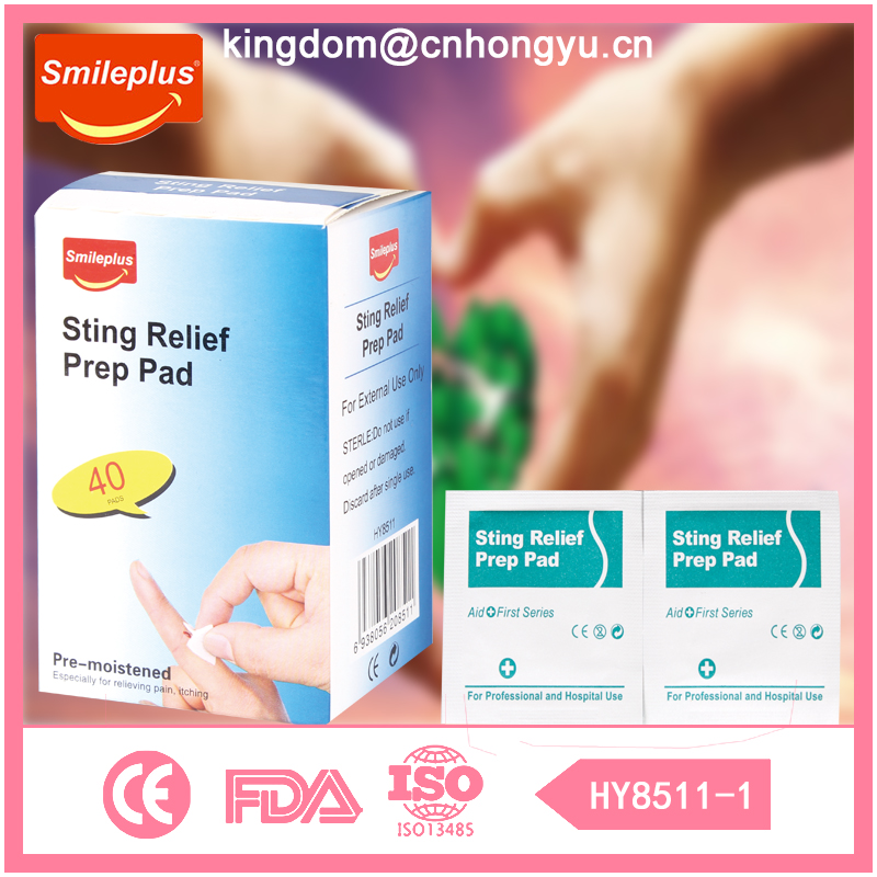 Outdoor care medical product name is Easy Carry Sting Relief Prep Pad for Outdoor Hurt Care