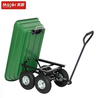 TC2145 4 wheel utility hand dump trailer truck plastic crate wagon trolleys tool cart garden poly dump lawn wagon
