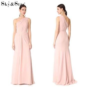 2019new Diseño Vestido De Las Mujeres De Un Hombro Rosa Largo Elegante Vestido De Noche Buy Vestido De Noche Elegantevestido De Noche Largovestido