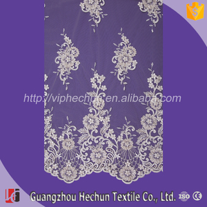 HC-3195 Hechun Pearl Bead White Dyeable Bridal Lace Fabric for Bridal Wedding Dress