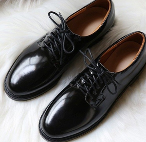 New spring design trend fashion black cool ladies leather shoes lace-up flat woman casual shoes