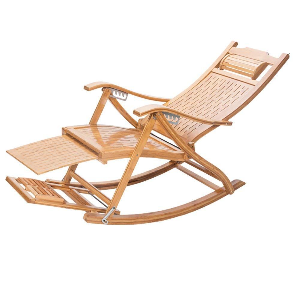 Rocking Chairs WSSF- Folding Bamboo Leisure Adjustable Deckchairs Office Balcony Lunch Break Nap Bed Lazy Sun Lounger Chair Outdoor Beach Patio Pool Side Reclining Backrest Chair Collapsible