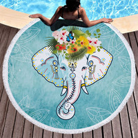 Hot Selling Round Printed Cute Elephant Pattern Promotional Microfiber Beach Towel